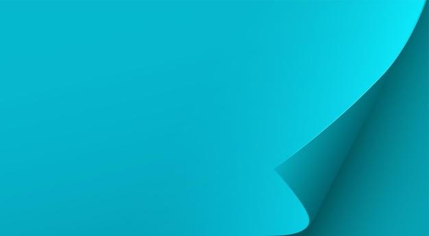 Foglio di carta blu con angolo arricciato