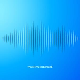Forma d'onda sonora di carta blu con ombra