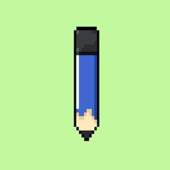 Matita blu con stile pixel art