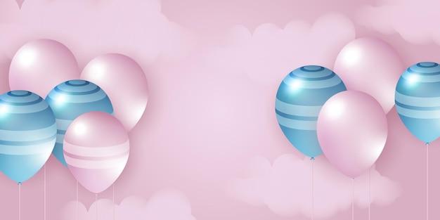 Illustrazione vettoriale di palloncini rosa blu modello di sfondo di celebrazione banner di celebrazione con oro ...