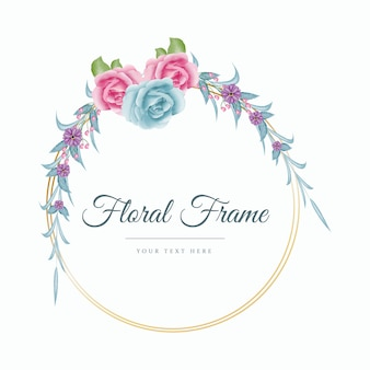Ghirlanda floreale acquerello rosa di colore blu e rosa con cornice dorata