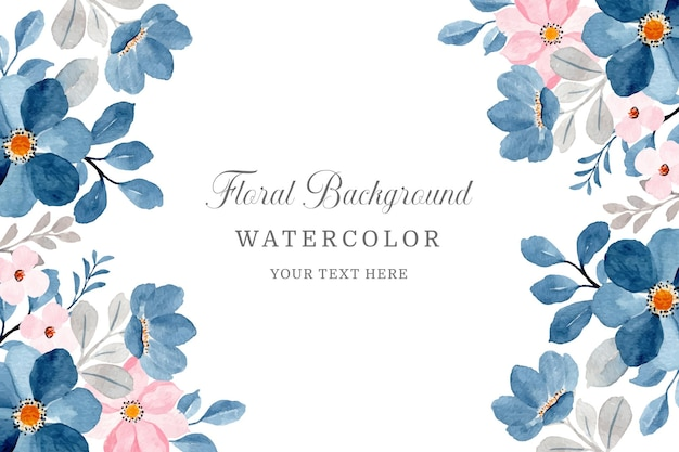 Sfondo floreale rosa blu con acquerello