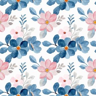 Modello senza cuciture dell'acquerello floreale rosa blu Vettore Premium