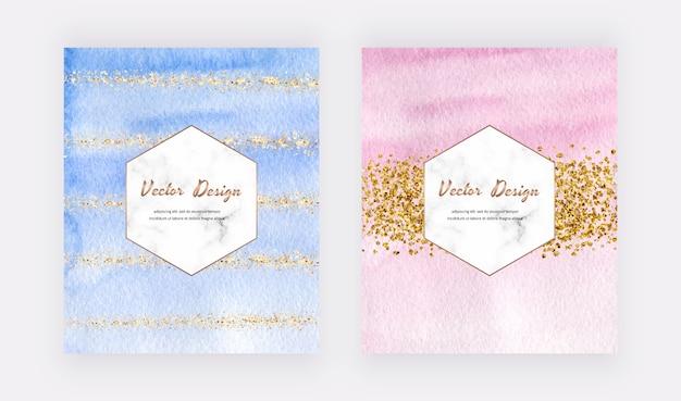 Design della copertina dell'acquerello blu, rosa e verde con texture glitter oro, coriandoli