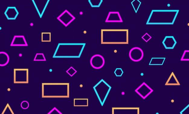 Sfondo di luci al neon di forme geometriche blu, rosa e arancioni. design futuristico per sfondi.