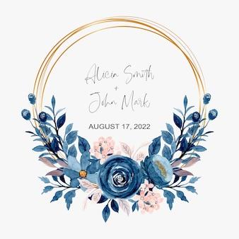 Corona floreale dell'acquerello rosa blu con cornice dorata