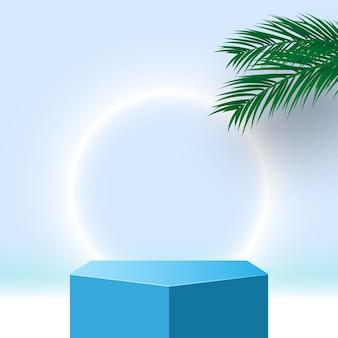 Podio blu con piedistallo di foglie di palma prodotti cosmetici piattaforma di visualizzazione 3d render stage