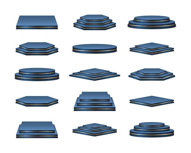 Piedistallo realistico con podi blu per la fase dei vincitori