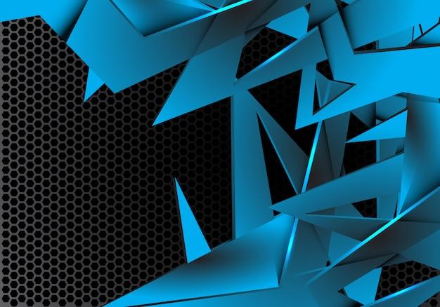 Sovrapposizione di poligono blu su sfondo grigio metallizzato esagono mesh.