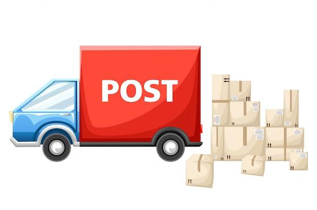 Automobile postale blu con l'illustrazione della scatola dei pacchi sulla pagina del sito web di sfondo bianco e sull'app mobile