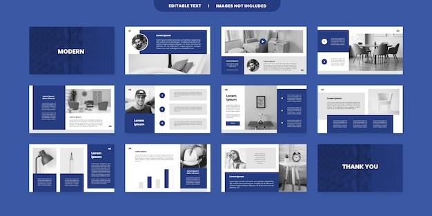 Modello di diapositive di presentazione blu powerpoint