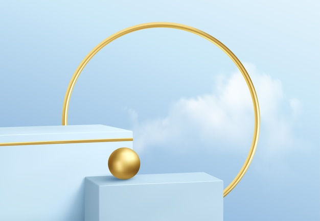 Vetrina del podio del prodotto blu sullo sfondo del cielo limpido con nuvole e decorazioni in oro. podio
