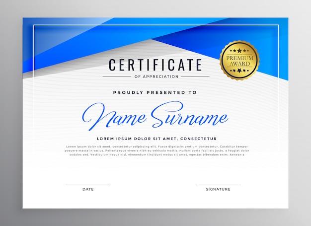 Blu certificato di certificato professionale design
