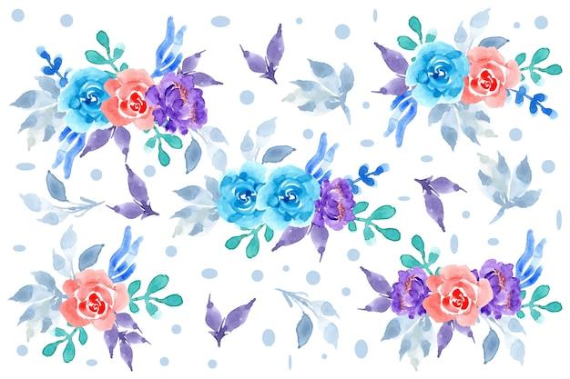 Disposizione floreale blu e viola