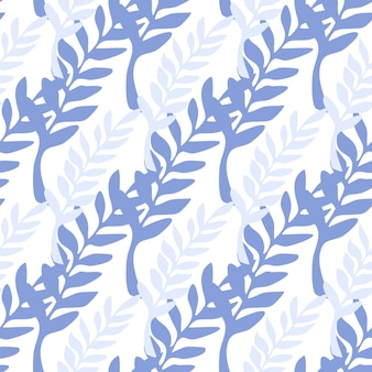 Modello senza cuciture rami blu e viola. sullo sfondo del ramo di foglia. illustrazione vettoriale su sfondo bianco per copertine tessili o di libri, sfondi, design, arte grafica, confezionamento