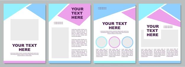Modello di brochure blu e viola. informazioni sull'azienda. volantino, opuscolo, stampa di volantini, copertina con spazio di copia. il tuo testo qui. layout vettoriali per riviste, relazioni annuali, manifesti pubblicitari