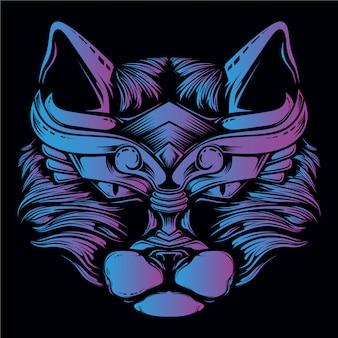 Illustrazione blu e viola della testa del gatto
