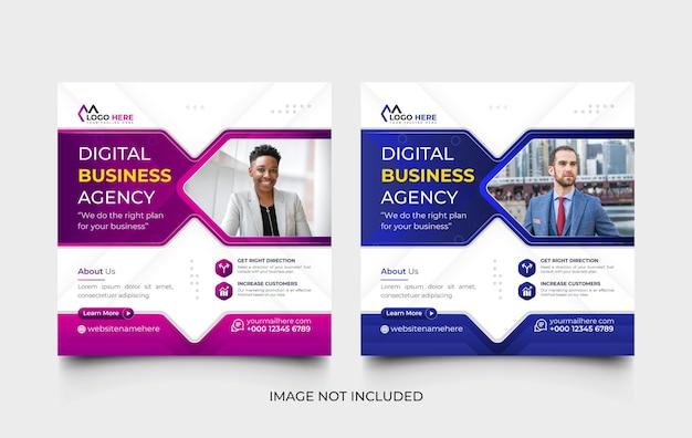 Modello di post sui social media dell'agenzia di marketing digitale blu e viola e set di modelli di banner web