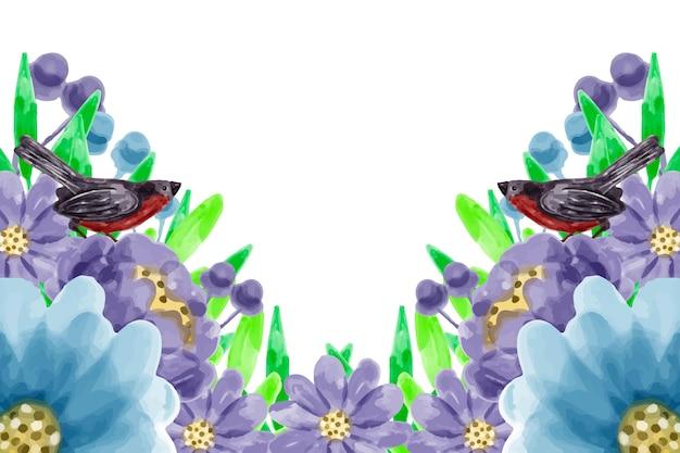 Sfondo blu fiore viola con acquerello