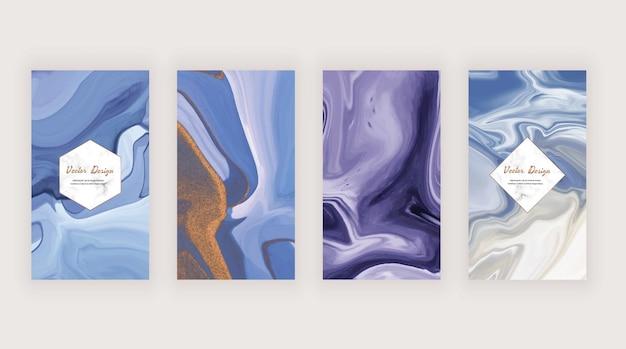 Texture di inchiostro liquido blu e viola per i social media Vettore Premium