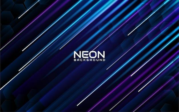 Sfondo di strisce al neon blu e viola