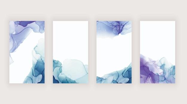 Inchiostro ad acquerello blu e viola per banner di storie sui social media