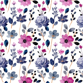 Reticolo senza giunte del fiore dell'acquerello viola blu Vettore Premium