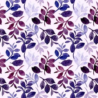 Il modello senza cuciture delle foglie dell'acquerello viola blu
