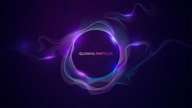 Superficie delle particelle ondulate blu e viola. banner astratto di tecnologia o scienza. illustrazione