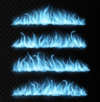 Scie blu realistiche di fuoco a gas, lunghe lingue in fiamme