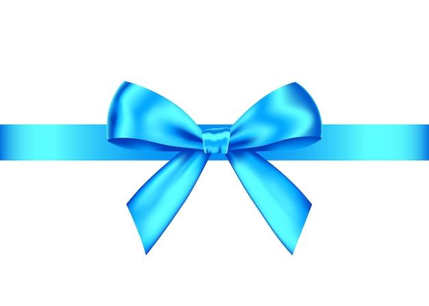 Fiocco regalo realistico blu con nastro orizzontale isolato su bianco