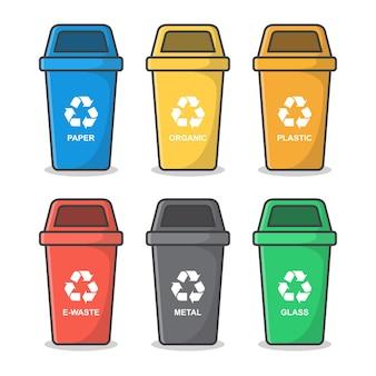 Cestino blu con l'illustrazione dell'icona di simbolo di riciclaggio.