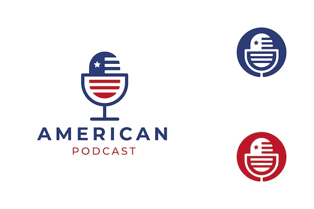 Logo di podcast bandiera americana blu e rosso