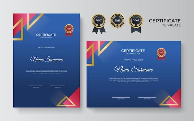 Modello di certificato di conseguimento blu e rosso con distintivo e bordo dorati