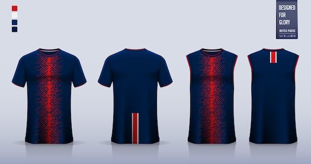 T-shirt sportiva astratta geometrica rossa blu uniforme