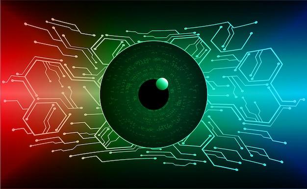 Fondo futuro di tecnologia del circuito cyber dell'occhio verde rosso blu