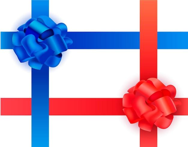 Nastri e fiocchi trasversali in raso blu e rosso su sfondo bianco. illustrazione realistica.