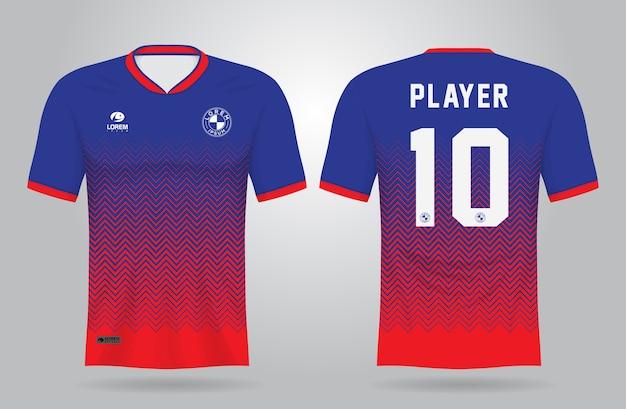 Modello di maglia sportiva blu rosso per le divise della squadra Vettore Premium