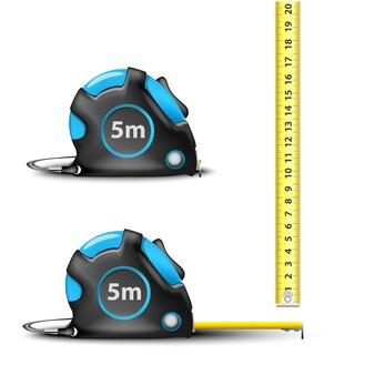 Nastro di misurazione in acciaio retrattile blu con misure imperiali e metriche isolato su sfondo bianco