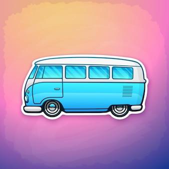 Furgone hippie retrò blu della libertà per il viaggio su strada toy camper bus vector illustration