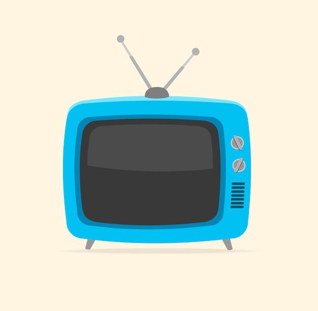 Tv blu retrò e minuscola antenna isolata su sfondo bianco.
