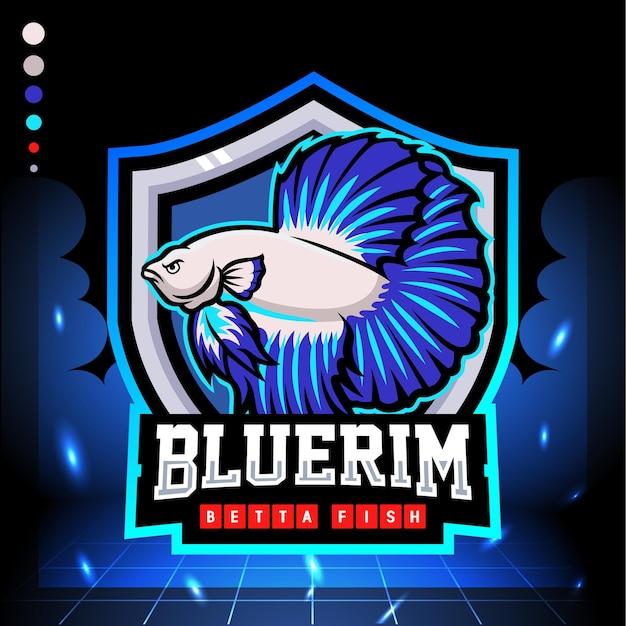 Design logo esport mascotte pesce betta bordo blu