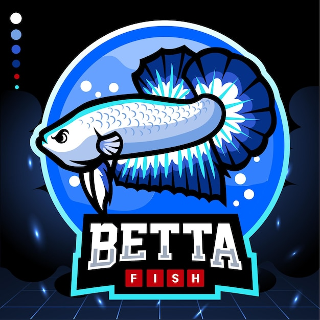 Mascotte di pesce betta bordo blu. logo esport