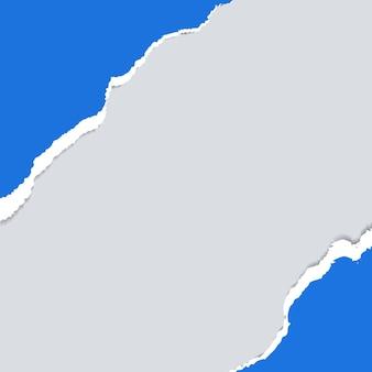 Sfondo di carta strappata blu striscione bianco con bordi strappati