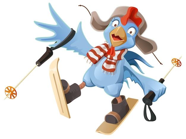 Cartone animato gallo blu gallo pollo sci. isolato su bianco illustrazione