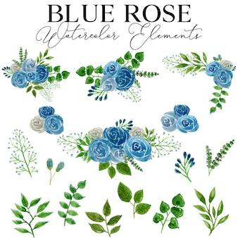 Raccolta di elementi dell'acquerello del fiore della rosa blu