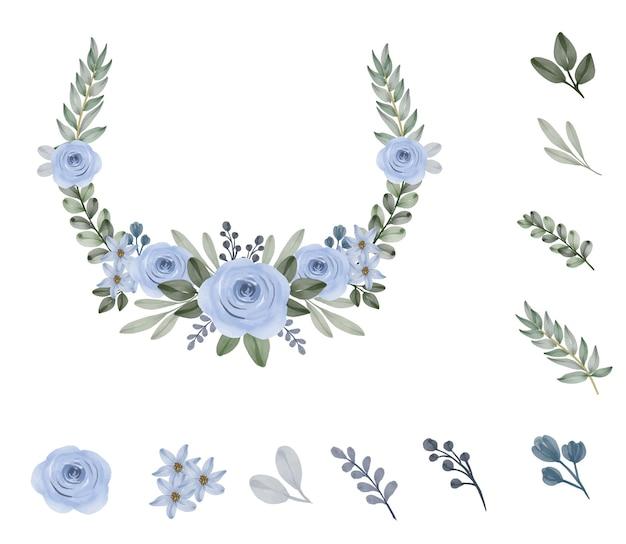 Ghirlanda di rose blu acquerello con ramo di fiori gemma raccolta floreale