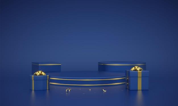 Podio tondo e cubo blu. scena e piattaforma 3d con cerchio d'oro su sfondo blu. piedistallo vuoto con scatole regalo con fiocco dorato e coriandoli. pubblicità, design del premio. illustrazione vettoriale.