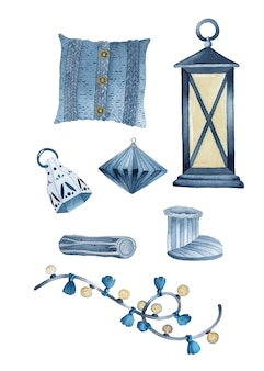 Insieme di elementi dell'acquerello di natale hygge rustico blu