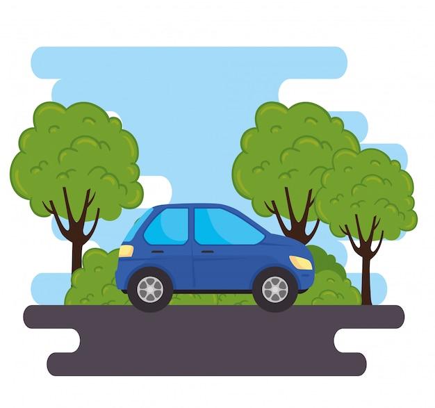 Veicolo di automobile blu della berlina nella strada, con progettazione dell'illustrazione di vettore della natura delle piante dell'albero
